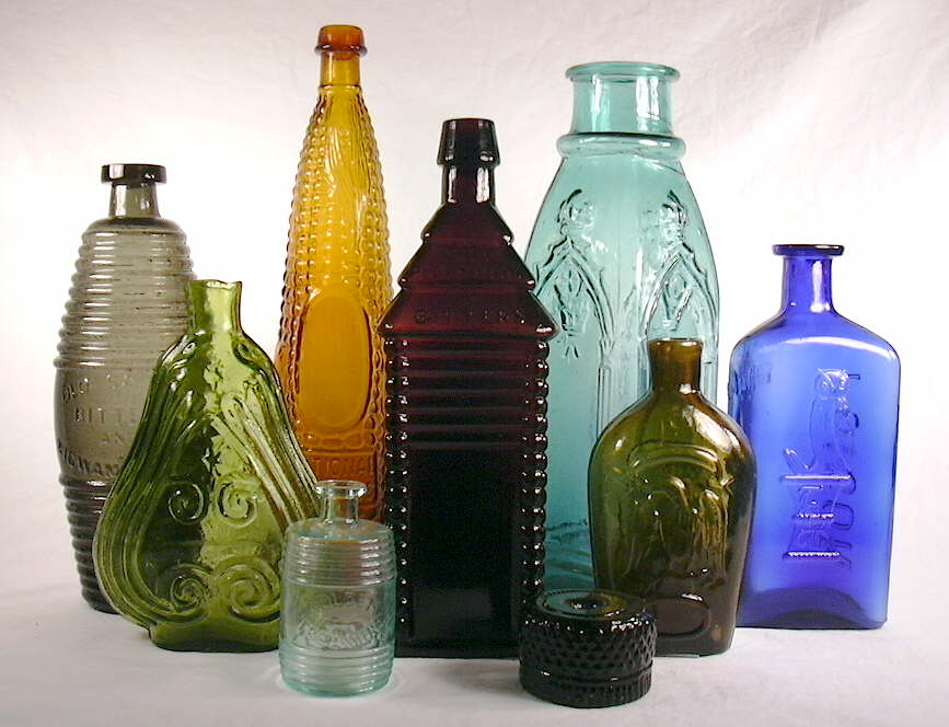 Grouping of 19th century American bottles.