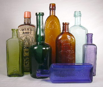 Grouping of 19th and early 20th century medicinal tonic bottles.